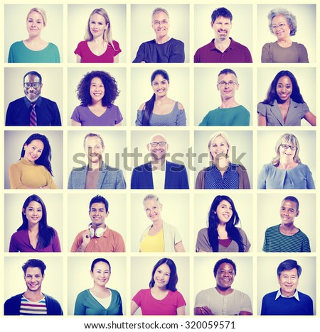 Community Diversity Group Headshot People Concept - stock photo
