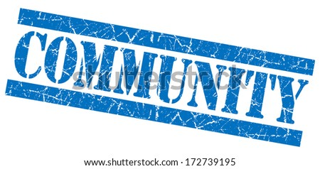 Community grunge blue stamp - stock photo