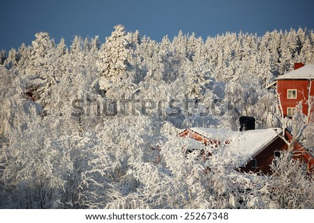 community in northern Sweden. Winter is very cold. - stock photo