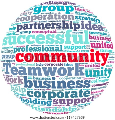 Community info-text graphics and arrangement concept on white background (word cloud) - stock photo