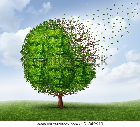 Community loss and losing social connections as a business and lifestyle concept with a green tree that is losing leaves as in the autumn season shaped as a group of human heads.
