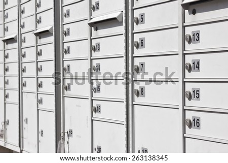 Community mailbox used in a new suburb neighborhood. Selective focus is on numbers 5 thru 8.  - stock photo