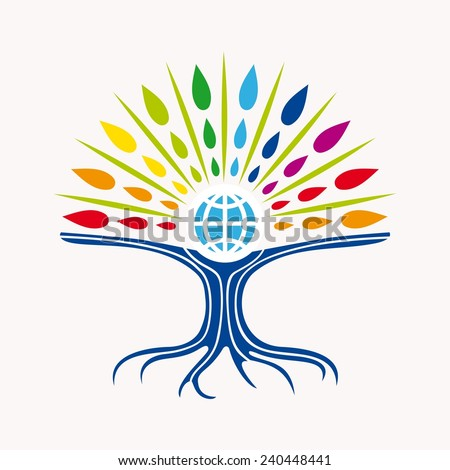 Community manager education world tree concept with colorful abstract leaves and earth icon illustration - stock photo