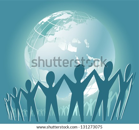 Community of people joined around the globe - stock photo