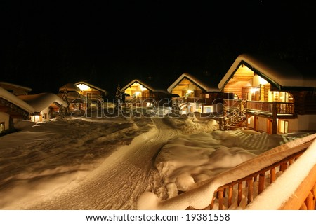 Community of Resort Homes With Snow - stock photo