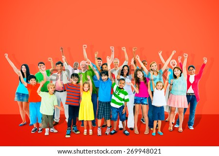Community Togetherness Children Multiethnic Cheerful Happiness Concept - stock photo