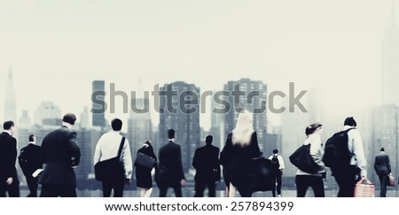 Commuter Buiness People Corporate Cityscape Walking Travel Concept - stock photo