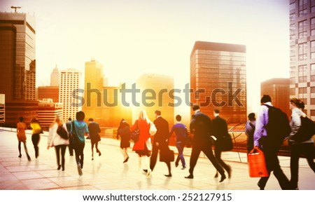 Commuter Business District Walking Corporate Cityscape Concept - stock photo