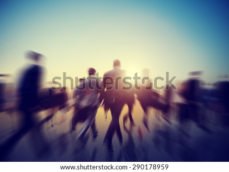 Commuter Business People Sunset Corporate Walking Concept - stock photo