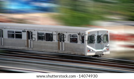 Commuter city train with motion blur of the background
