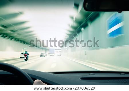 Commuter traffic - Urban Tunnel - stock photo