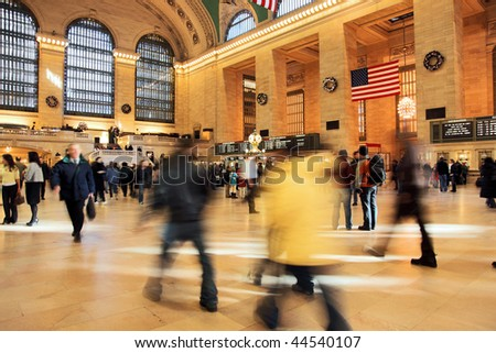 Commuters and shoppers in motion at Grand Central in New York - stock photo