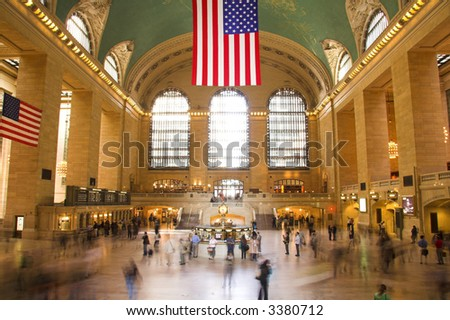 Commuters in motion in Grand Central Terminal in New York - stock photo