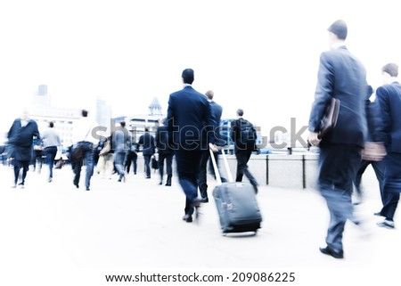 Commuters in the city. - stock photo