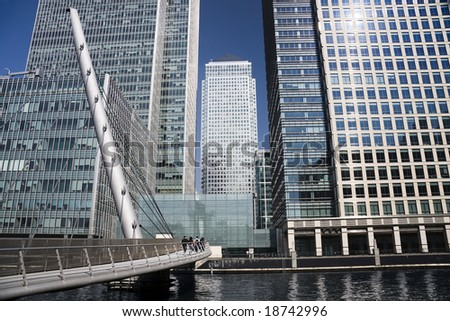 Commuters walking into the central financial business district of London's Docklands