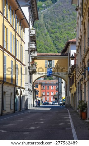 COMO APRIL 13: Street view on April 13th, 2015 in Como town, Italy