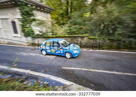 Como (Italy) October 16, 2015 - Photography with Shake (Panning) of cars participating in the 34th edition of the Italian Championship WRC, starts and finishes in the city of Como