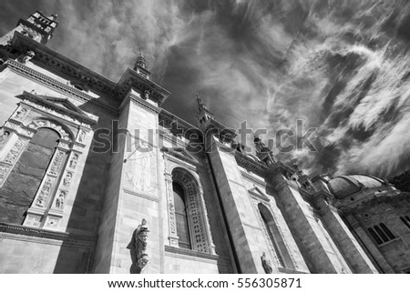 Como (Lombardy, Italy): exterior of the cathedral, built from the 13th century. Black and white