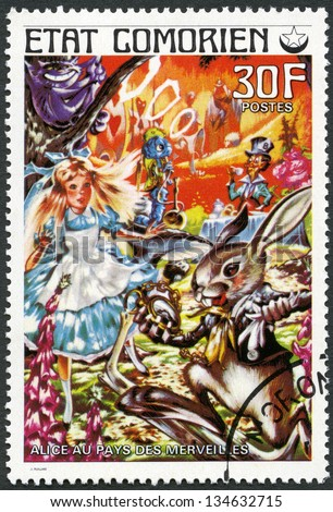 COMORES - CIRCA 1976: A stamp printed in Comores shows Alice in Wonderland, series Fairy Tales, circa 1976 - stock photo