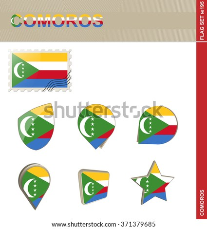 Comoros Flag Set, Flag Set 195. Rasterized Copy.