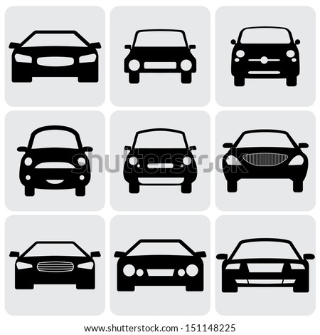 compact and luxury passenger car  icons ( signs ) front view- graphic. This illustration represents nine symbols of car's front side in black color against white background - stock photo