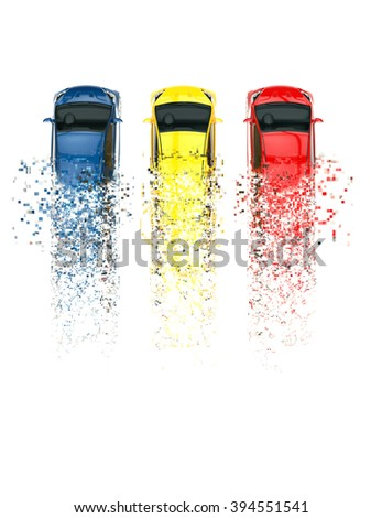 Compact cars - pixel trails - stock photo
