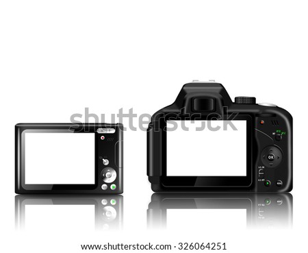 Compact digital camera and digital SLR camera with empty LCD screens isolated on whiite background