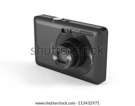 Compact Digital Camera - Isolated on White Surface - stock photo