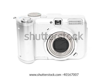 compact digital camera on white