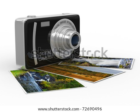 Compact digital camera on white. Isolated 3D image