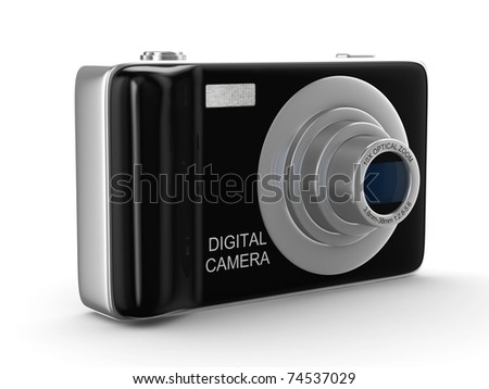 Compact digital camera on white. Isolated 3D image - stock photo