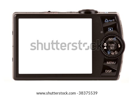 Compact digital camera rear view. Empty space for your picture or text. - stock photo