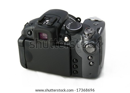 Compact digital camera taked from backside with closed display (isolated on white background)