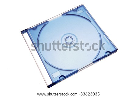 Compact disc case isolated on white background - stock photo