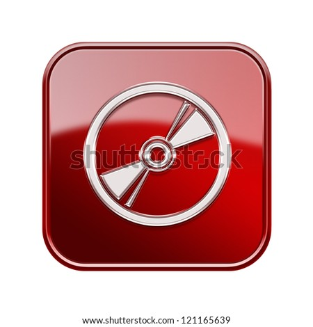 Compact Disc icon glossy red, isolated on white background - stock photo