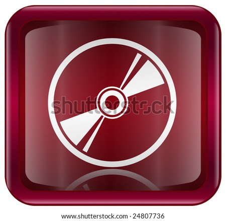 Compact Disc icon red, isolated on white background - stock photo