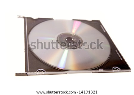 Compact disc in case on white