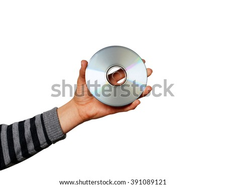 Compact disc in hand - stock photo