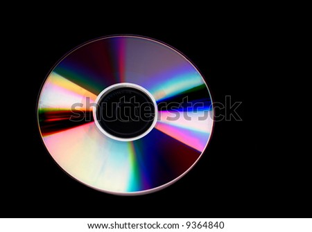 Compact disc isolated on a black background