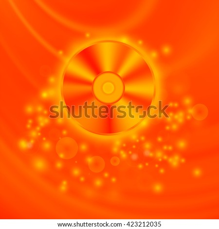 Compact Disc Isolated on Red Wave Blurred Background - stock photo