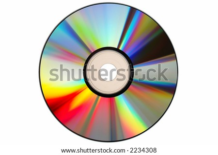 Compact Disc with clipping path on a white background - stock photo