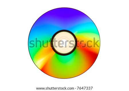 Compact Disc with clipping path on a white backgroung