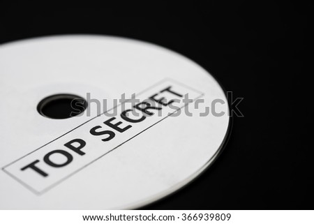 compact disc with label of top secret - stock photo