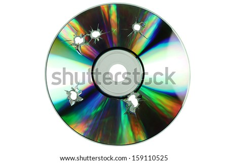 compact disc with the holes of the shots on a white background