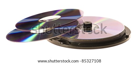 compact discs cd isolated on a white background - stock photo