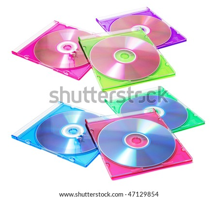 Compact Discs in Plastic Cases on White Background