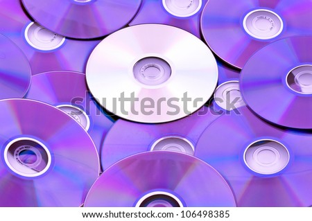 Compact discs mixed - stock photo
