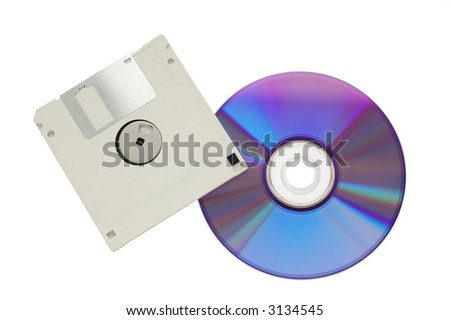 Compact disk and floppy isolated on white background - stock photo