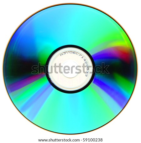 Compact disk isolated on white background - stock photo