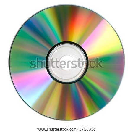 Compact disk surface isolated over white. High resolution. No dust. - stock photo
